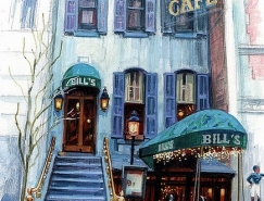 Stephen Gardner细腻画ω笔下的酒吧和咖啡馆