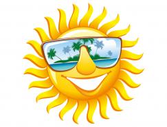 卡通笑脸太阳矢量素材