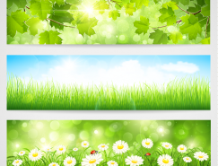 3个春天主题背景banner矢量素材