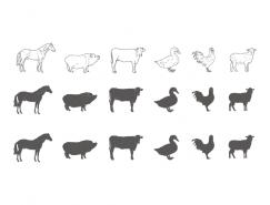 家禽和家畜剪影矢量素材