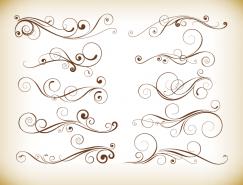 漂亮的装饰线描花纹矢量素材