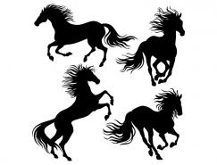 4匹奔跑的骏马剪影矢量素材
