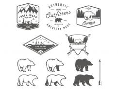 手繪北極熊logo矢量素材