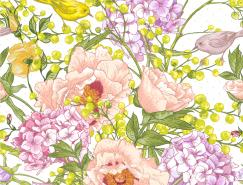 手绘唯美春天花卉艺术背景矢量素材