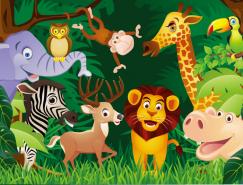 樹林中可愛卡通動物矢量素材
