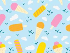 扁平化风格清新夏日冰淇淋背景矢量素材