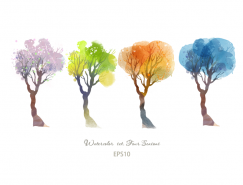 四季水彩树木矢量素材