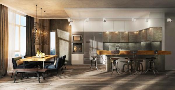两个时尚工业风格的年轻家庭公寓设计(2)