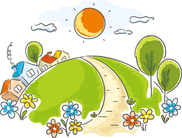 eps格式,卡通,太阳,花草,草地,小路,房屋,手绘,矢量图