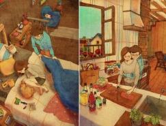 韩国插画师puuung的暖心爱情故事插画