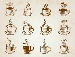 16个手绘咖啡杯图标矢量素材