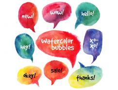 水彩效果对话气泡矢量素材