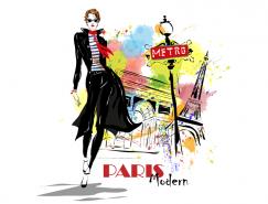 手绘时尚女孩巴黎背景矢量素材