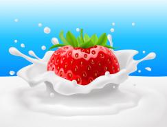 新鲜草莓与牛奶矢量素材