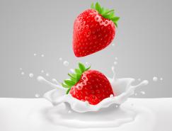 落入牛奶中的草莓矢量素材