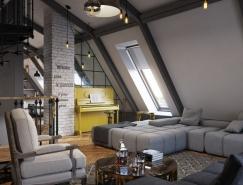 裸露的砖墙:3个暗色系工业风格Loft设计