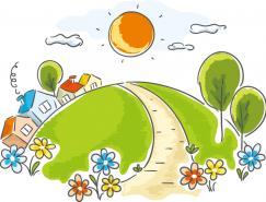 藍天陽光下的鄉村小屋卡通矢量素材