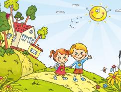 阳光下上学的儿童卡通矢量素材
