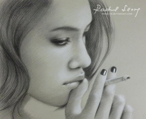 leong hong yu精美的铅笔素描肖像画欣赏