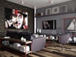 简洁的线条暗色系时尚住宅设计