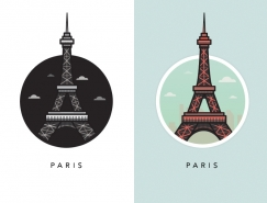 欧洲著名地标建筑插画设计