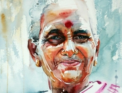 印度藝術家Rajkumar Sthabathy肖像水彩畫欣賞