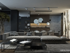 90平暗黑色系公寓设计