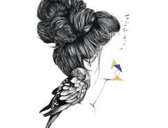 隐藏的面孔:Laura Cheyenne女性肖像插画欣赏