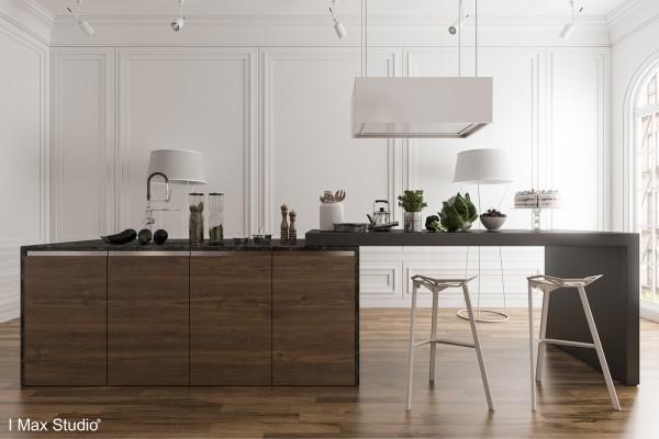 白色和木纹效果的时尚厨房设计