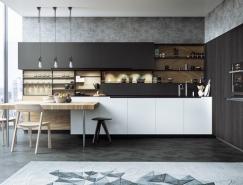 黑色,白色和木纹效果的时尚厨房设计