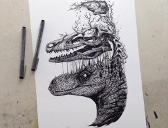 动物和骨架:Paul Jackson另类黑白插画欣赏
