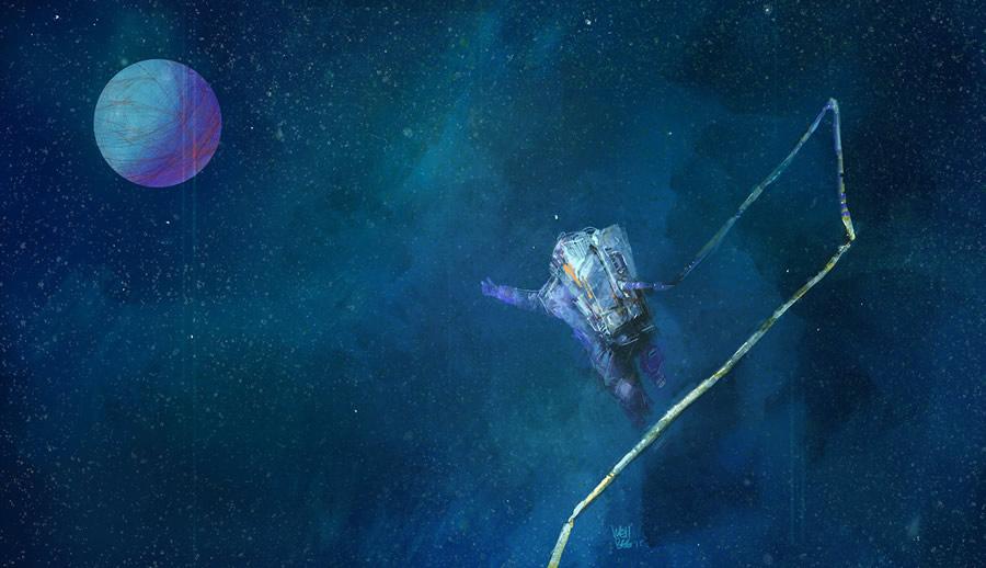 太空中的宇航员插画欣赏(2)