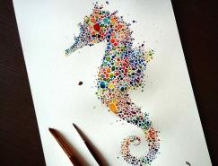 彩色点点构成的精致动物绘画作品