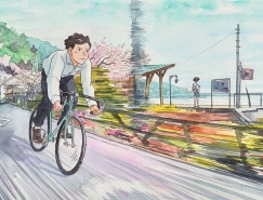 Mateusz Urbanowicz水彩插畫作品:騎單車的男孩