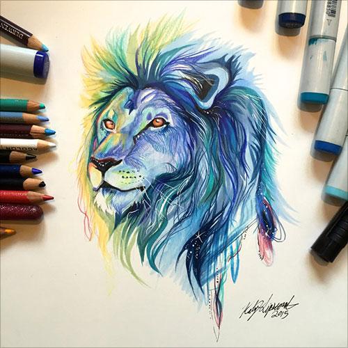 lipscomb动物彩铅插画作品