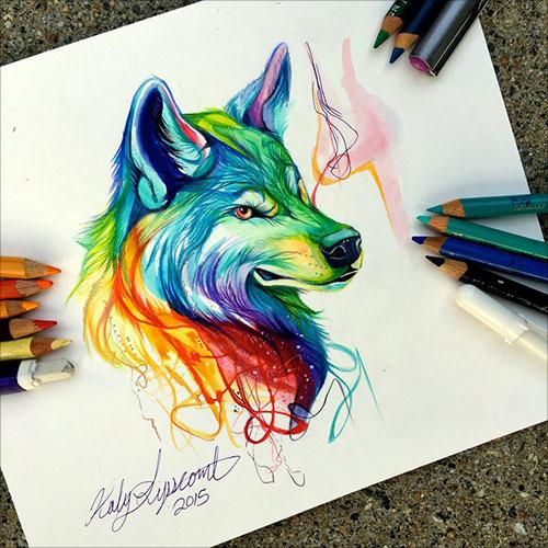 نقاشی ساده با مداد شمعی Katy Lipscomb动物彩铅插画作品 - 设计之家