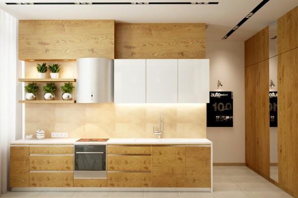 25个白色和木纹厨柜的厨房设计