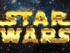 Photoshop制作金色星球大战立体字