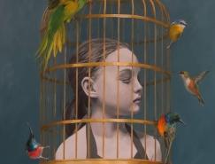 女孩和鳥:Elise Macdonald繪畫作品