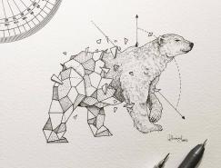 几何图形和动物融合:Kerby Rosanes动物插画作品