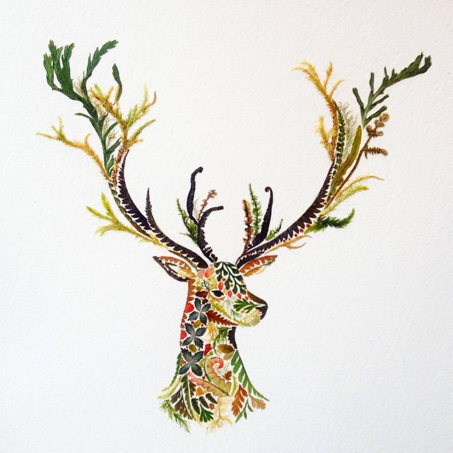 helen ahpornsiri树叶拼贴精美插画作品