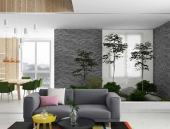 漂亮垂直绿色花园的现代时尚公寓澳门金沙网址