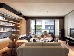 温暖的色调和工业元素的使用:台湾现代简约住宅装修设计