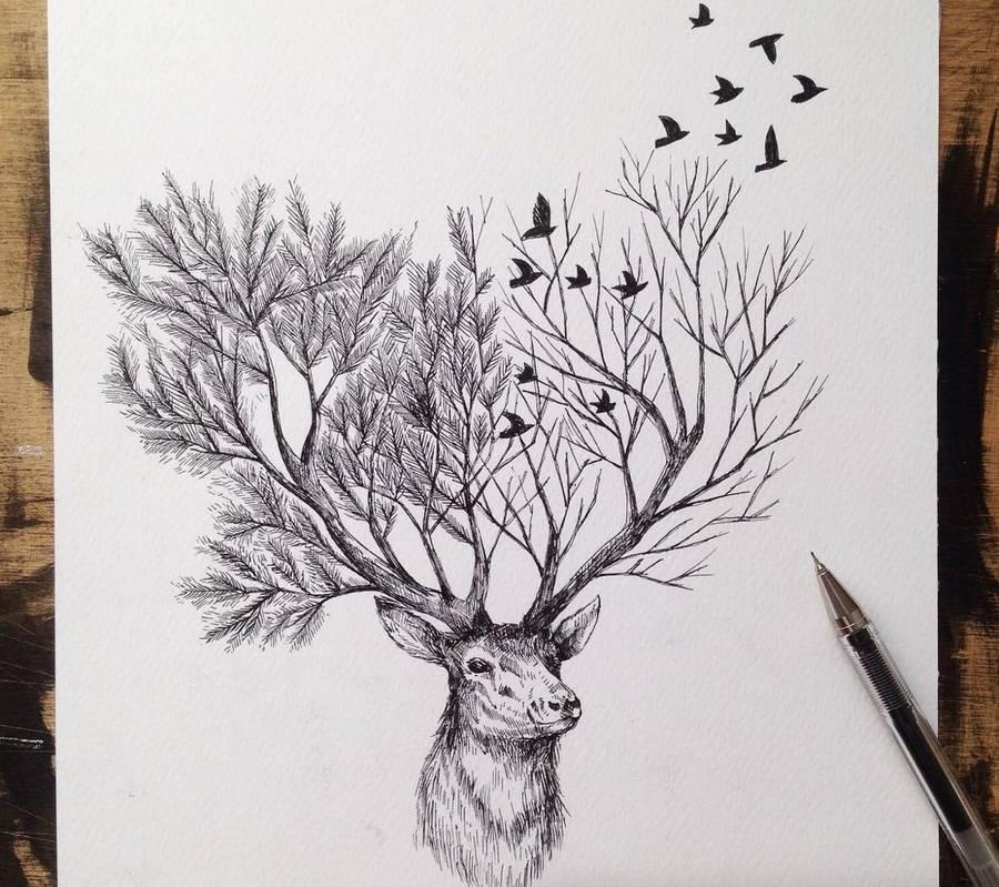 alfred basha超现实风格黑白动物插画 - 设计之家