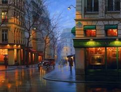 Alexey Butyrsky城市夜景繪畫作品