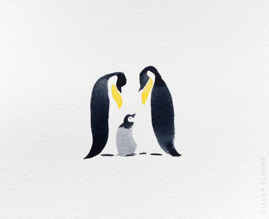 flores可爱的企鹅水彩画欣赏