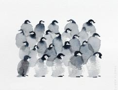 Oliver Flores可爱的企鹅水彩画欣赏