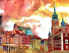惊艳的色彩:Maja Wronska建筑水彩绘画作品欣赏