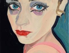 Gill Button时尚人物肖像油画作品