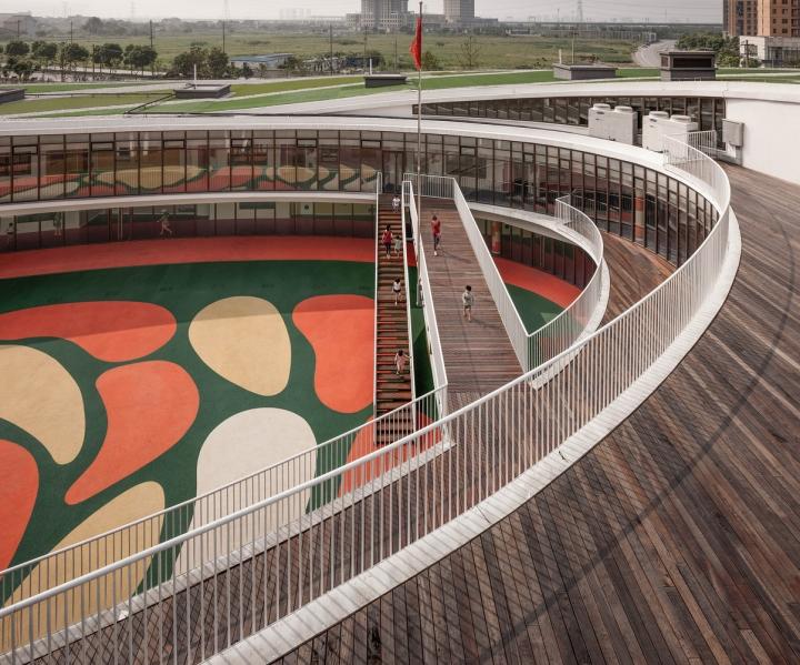 建筑师:UDG + SEU 地址:中国,江苏省,无锡市,惠山 首席建筑师:Qian Qiang 建筑面积:7891.1 平方米 项目年份:2014 这是一个由上海联创建筑设计有限公司(UDG)设计的江苏无锡惠山榭丽花园小区幼儿园项目。该项目是一座三层高的椭圆型螺旋环形建筑,拥有宽敞的室外空间、充足的光线,是理想的学习环境。 建筑采用了流线形设计,并与现有的道路形成了动态关系。在建筑造型上将园林绿化景观元素充分的融入了进来,这样使幼儿园与西面的购物中心和南面的社区中心成为一体,形成了一个高质量的,舒适的广